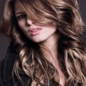 Long hair with choppy, curly layers
