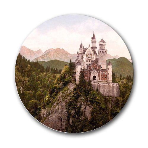 $8.00 Scenic Castle in Mountains photo Round Mousepad Mouse Pad Great Gift Idea