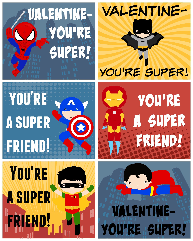 Free Printable Superhero Valentines – Boy Valentines Cards