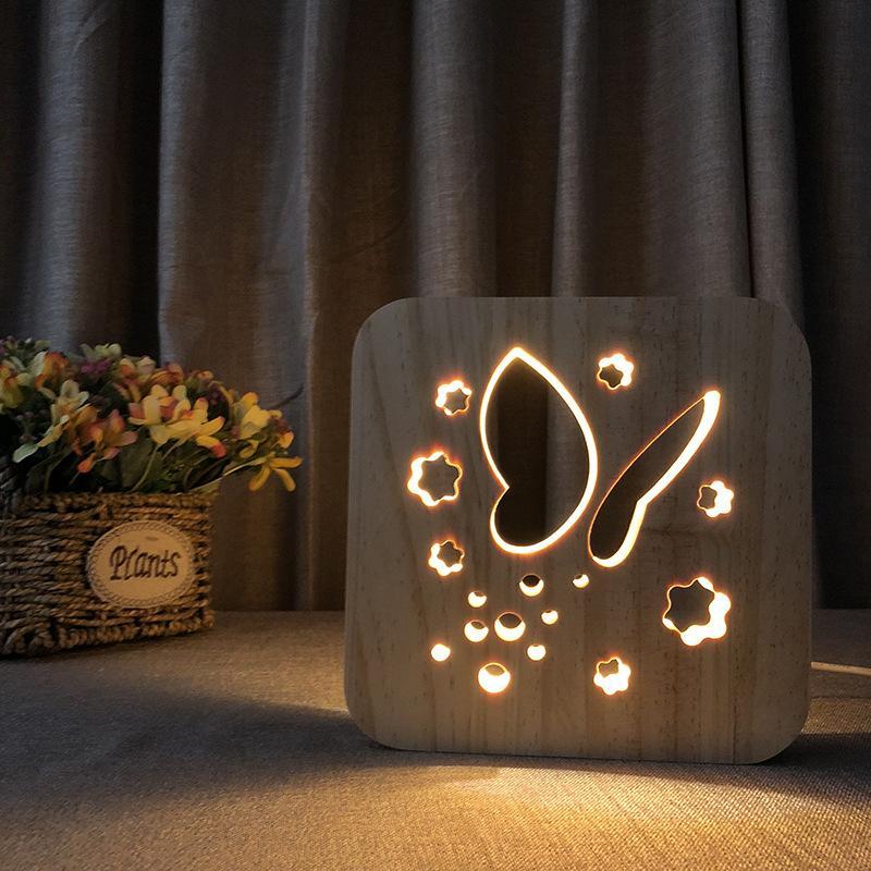 Butterfly 3d Wooden Nightlight Wooden Lamp Creative Lamps Wooden