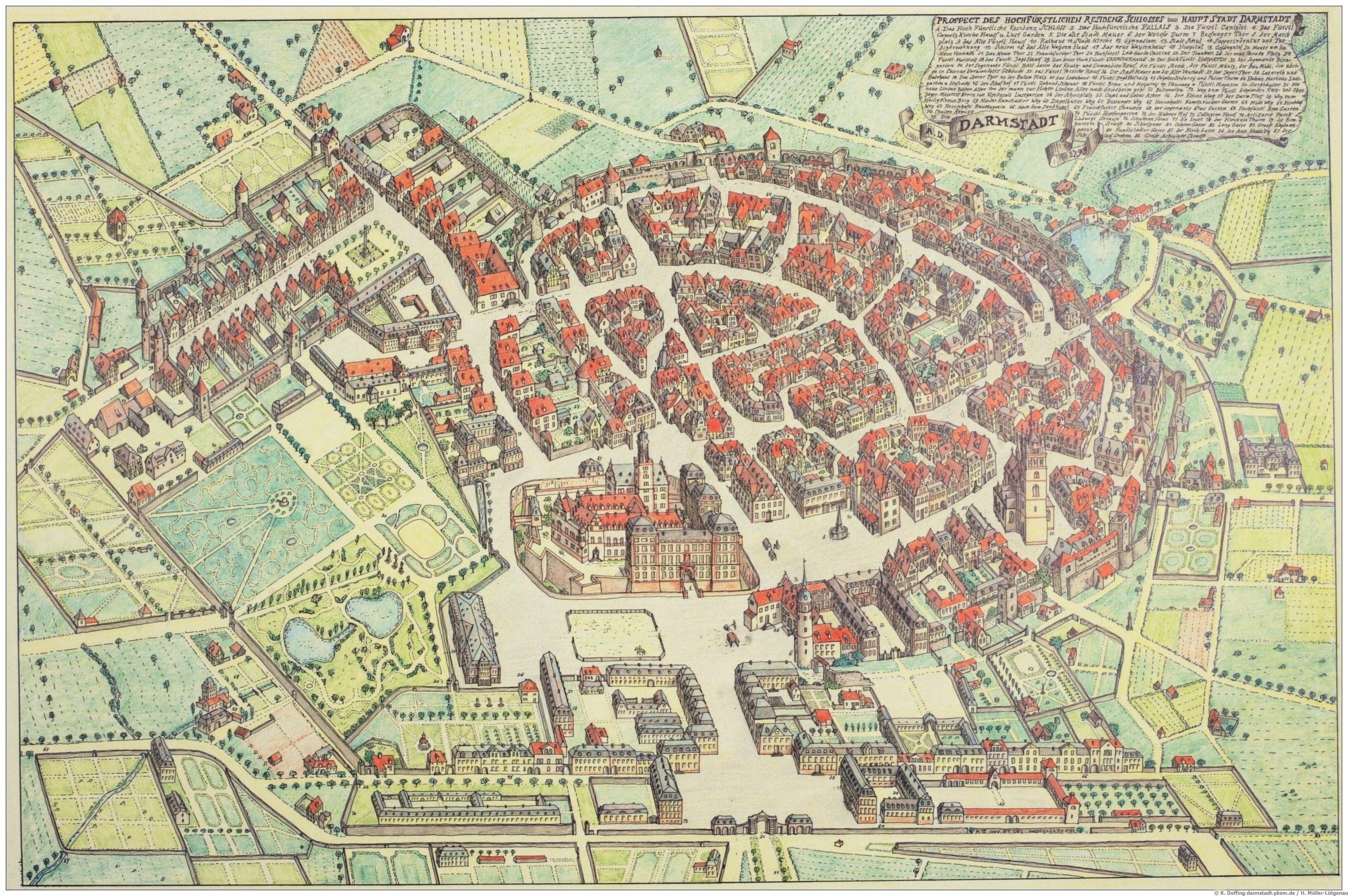Karte Darmstadt Von 1799 Darmstadt Historische Bilder Karten