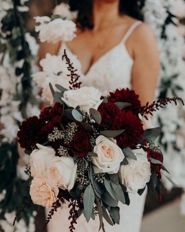20 Burgundy and Greenery Wedding Color Ideas is part of Winter wedding decorations - marsala perfectly lends itself perfectly for a fall or winter wedding