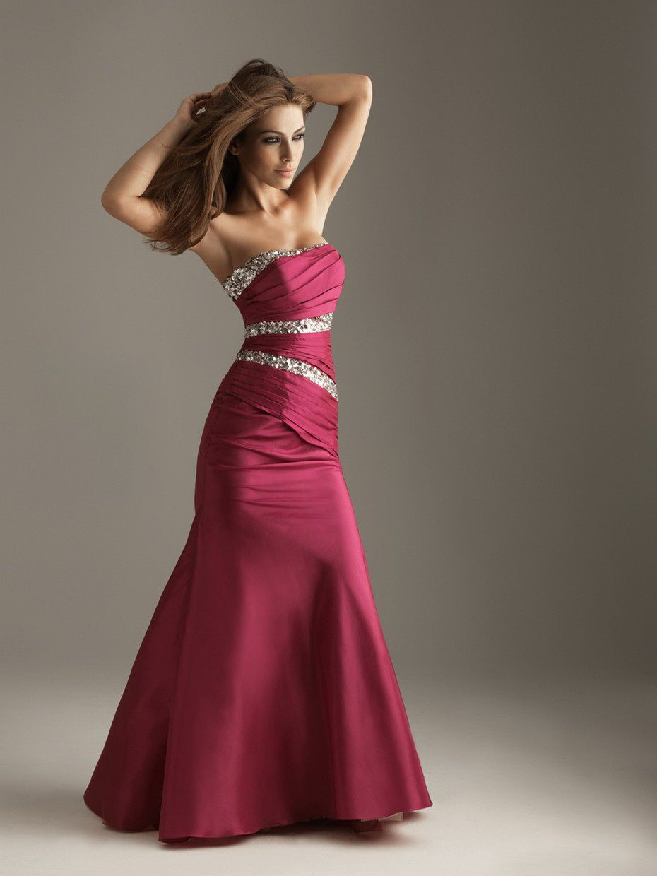 Burgundy gowns mermaid strapless sequin drape burgundy floor