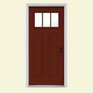 white craftsman front door. Beautiful Craftsman JELDWEN Craftsman 3 Lite Painted Steel Entry Door THDJW167700869 At The  Home Intended White Front Door