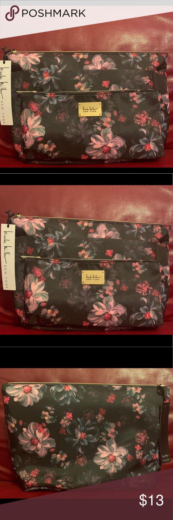 Nicole Miller Floral Cosmetics Bag Cosmetic bag, Nicole
