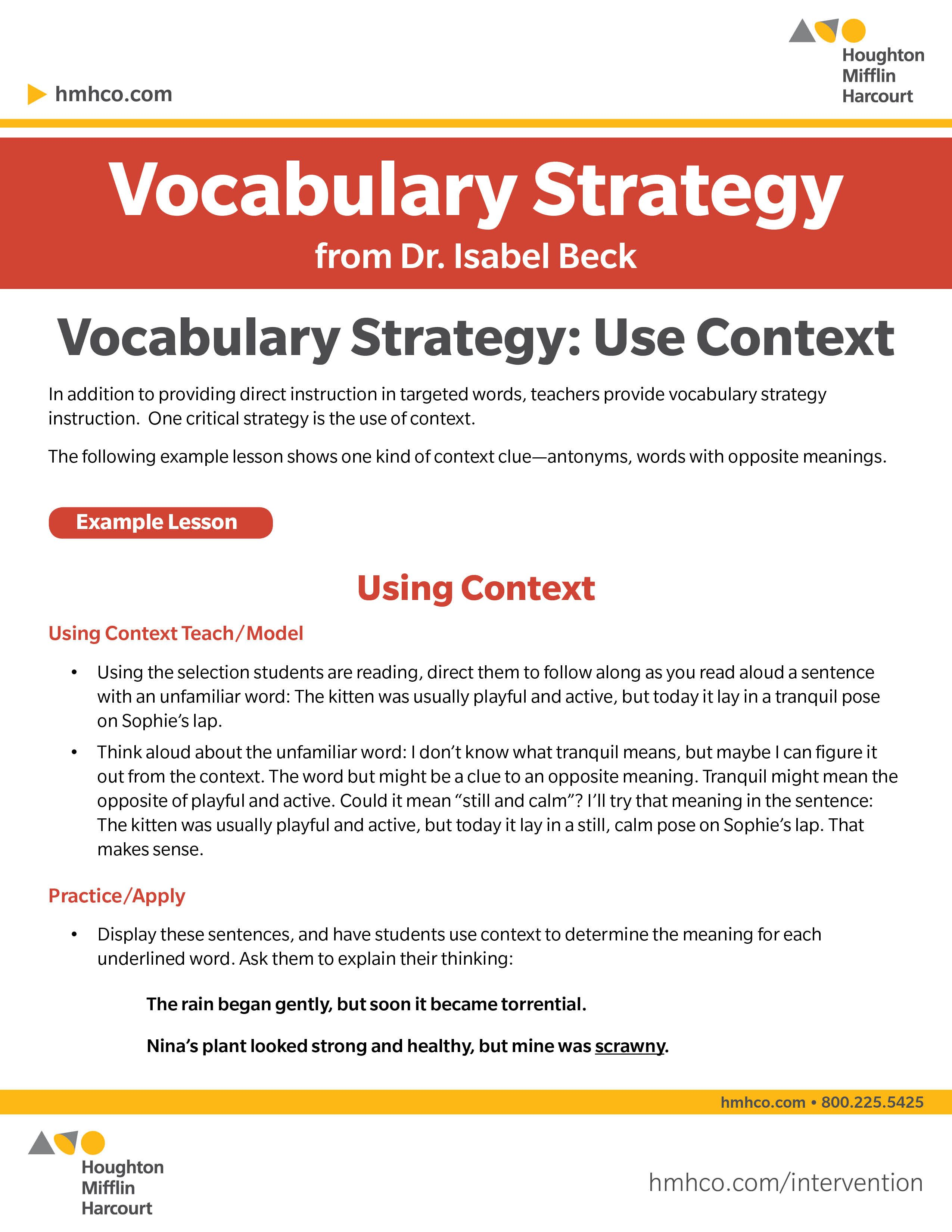 Vocabulary Strategy Use Context Download This Vocabulary Strategy From Dr Isabel Beck Visit