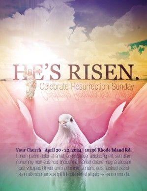 He Is Risen Easter Church Flyer Template Sharefaith Dove