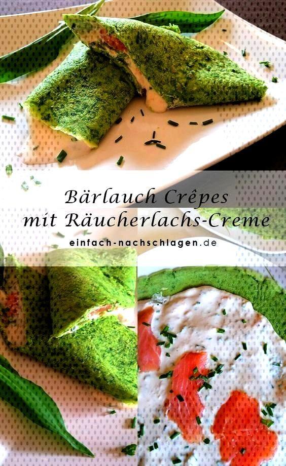 garlic crepes with smoked salmon cream - just look it up! - Wild garlic crepes with smoked salmon