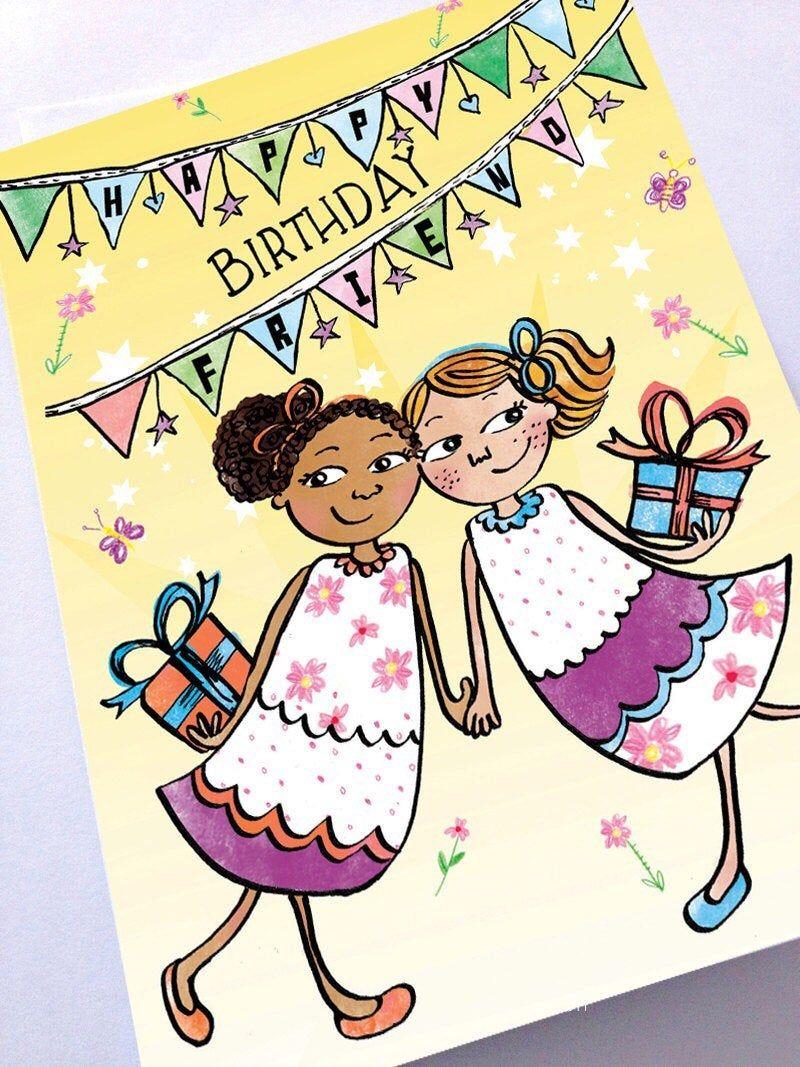 Happy Birthday Best Friend BFF Greeting Card Black Greeting  Etsy
