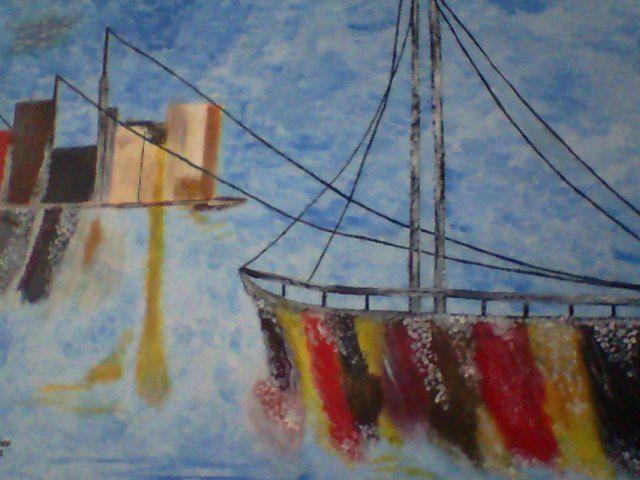 Abstrato Barco óleo s/tela