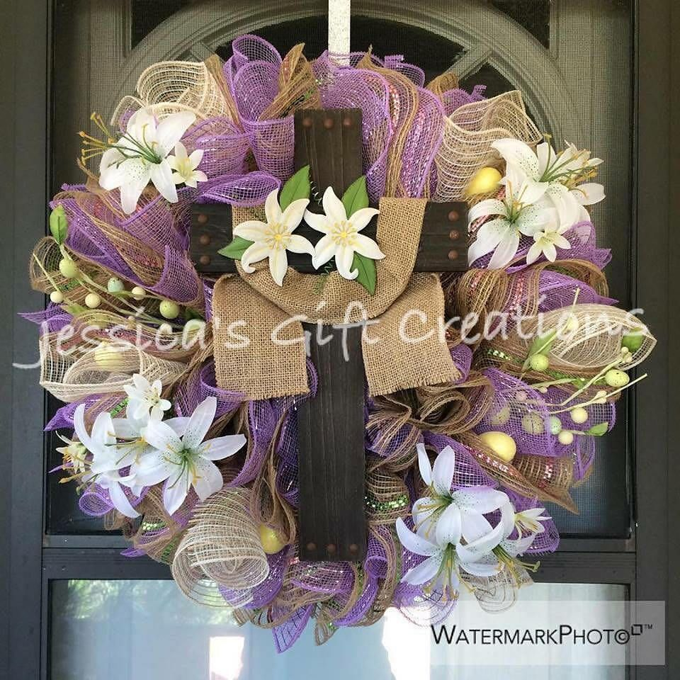 Made To Order Easter Cross Mesh Wreath/Front Door Wreath/Seasonal Wreath/Lilies  Wreath/Burlap Decor/Holiday Door Hanger/Spring/Religious