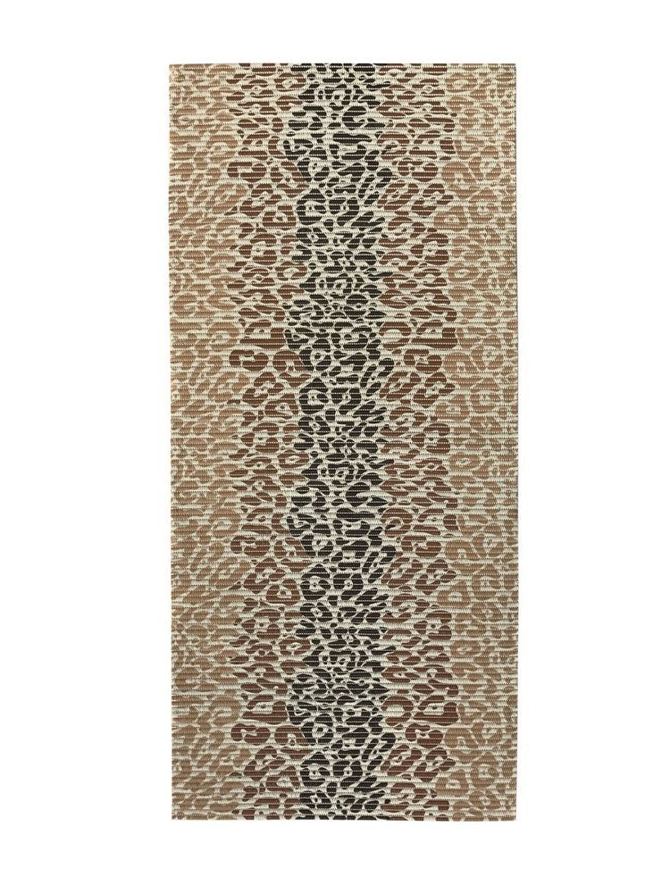 Custom Size Brown Color Non Slip Memory Foam Rubber Leopard Design