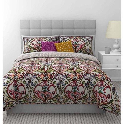 Color Damask Fl Duvet Cover Twin Eye Catching Red Green Black Blue Geometric Mosaic Flower Motif