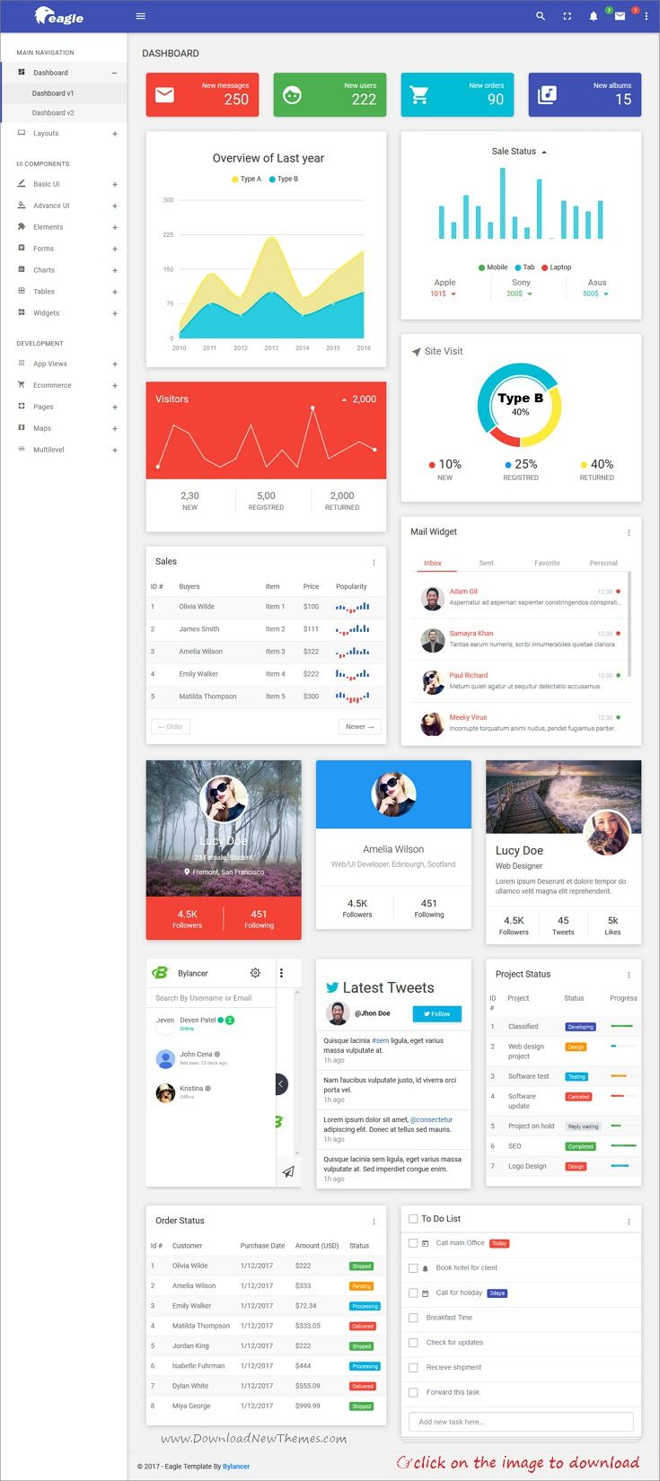 Eagle is clean and modern material design 7+ responsive #bootstrap ...