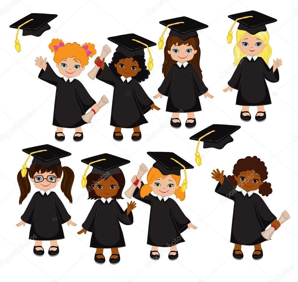Download royalty-free Girls. Set of children in a graduation gown ...