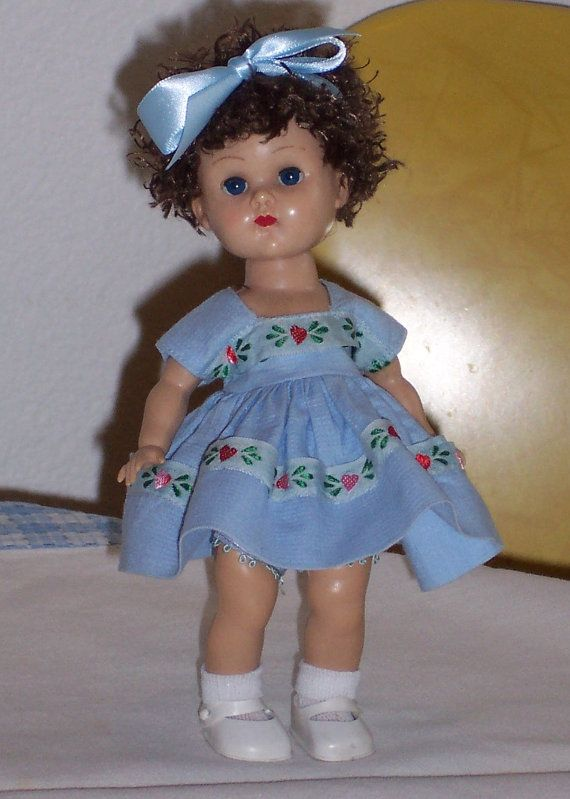 1950's Vogue Ginny Doll Hard Plastic Molded Lash, Straight Leg Walker, Tagged Dress