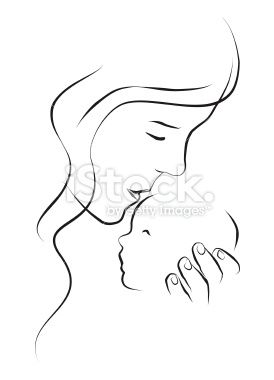 Mother Kissing Her Newborn Baby On The Forehead Black And White