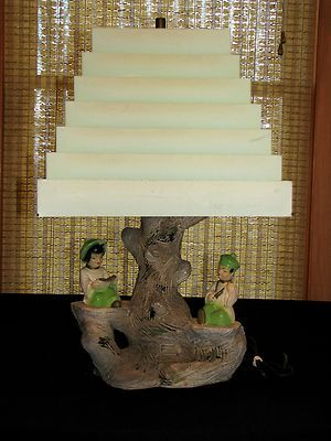 Vintage Art Deco Oriental Chinese Japanese Figural Table Lamp Rare