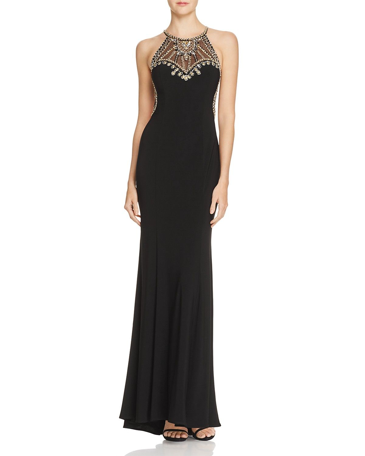 Avery G Embellished Mesh Inset Gown