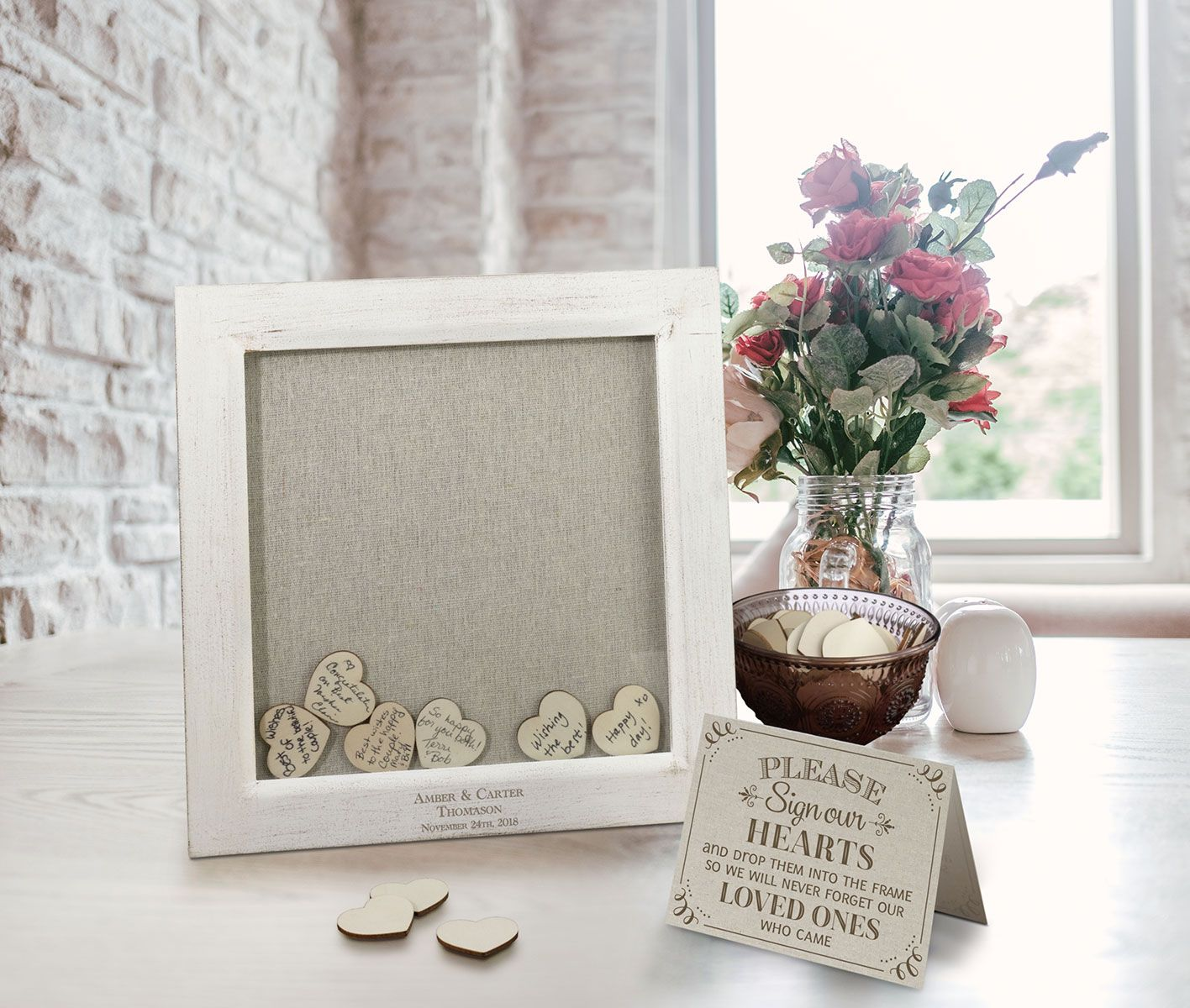 Personalized Small Guest Signing Hearts Frame Wedding