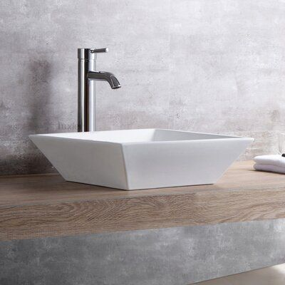 Luxier Ceramic Square Vessel Bathroom Sink With Faucet Drain