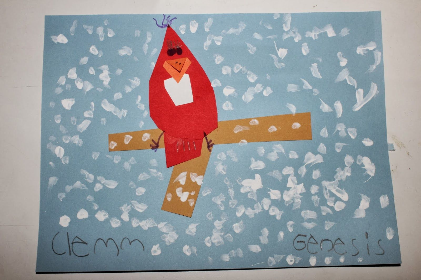 Winter Cardinals With Kindergarten Practicing Shapes