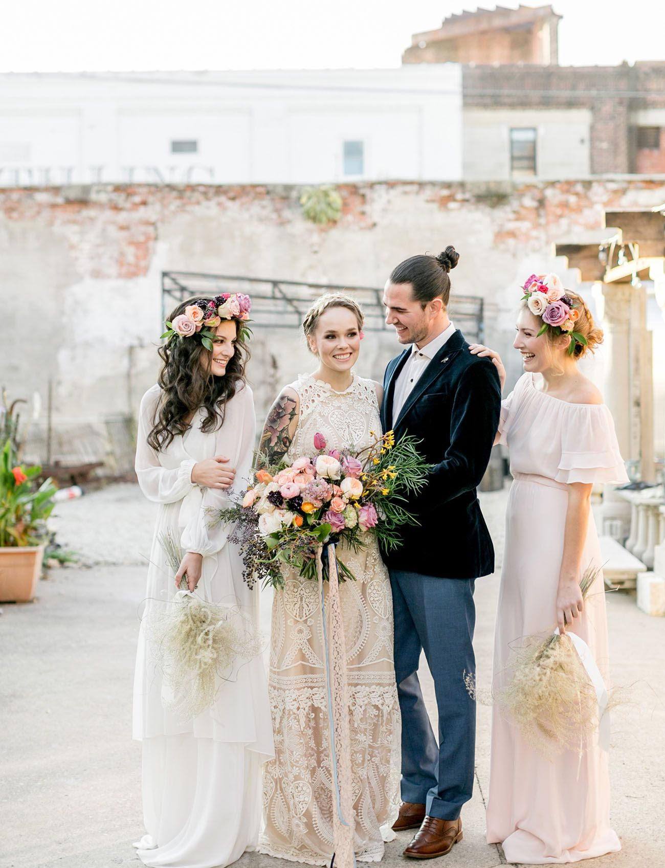 Bold floralfilled usinspired wedding inspiration boho themed