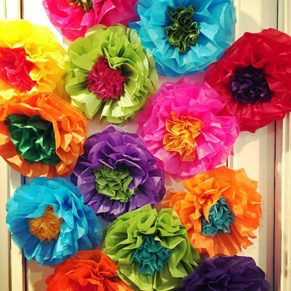 Mexican Tissue Paper Flowers Photo Wall Wedding Fiesta Decorations