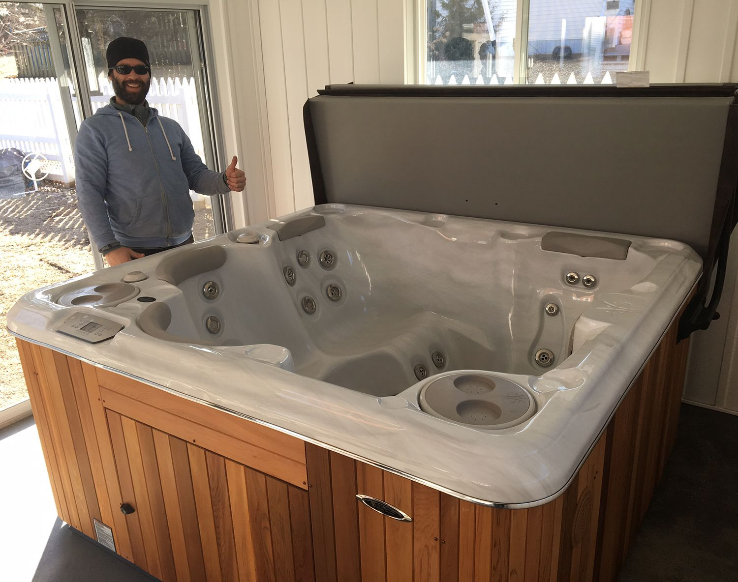 Another great indoor hot tub install from The Spa Shoppe! This time ...
