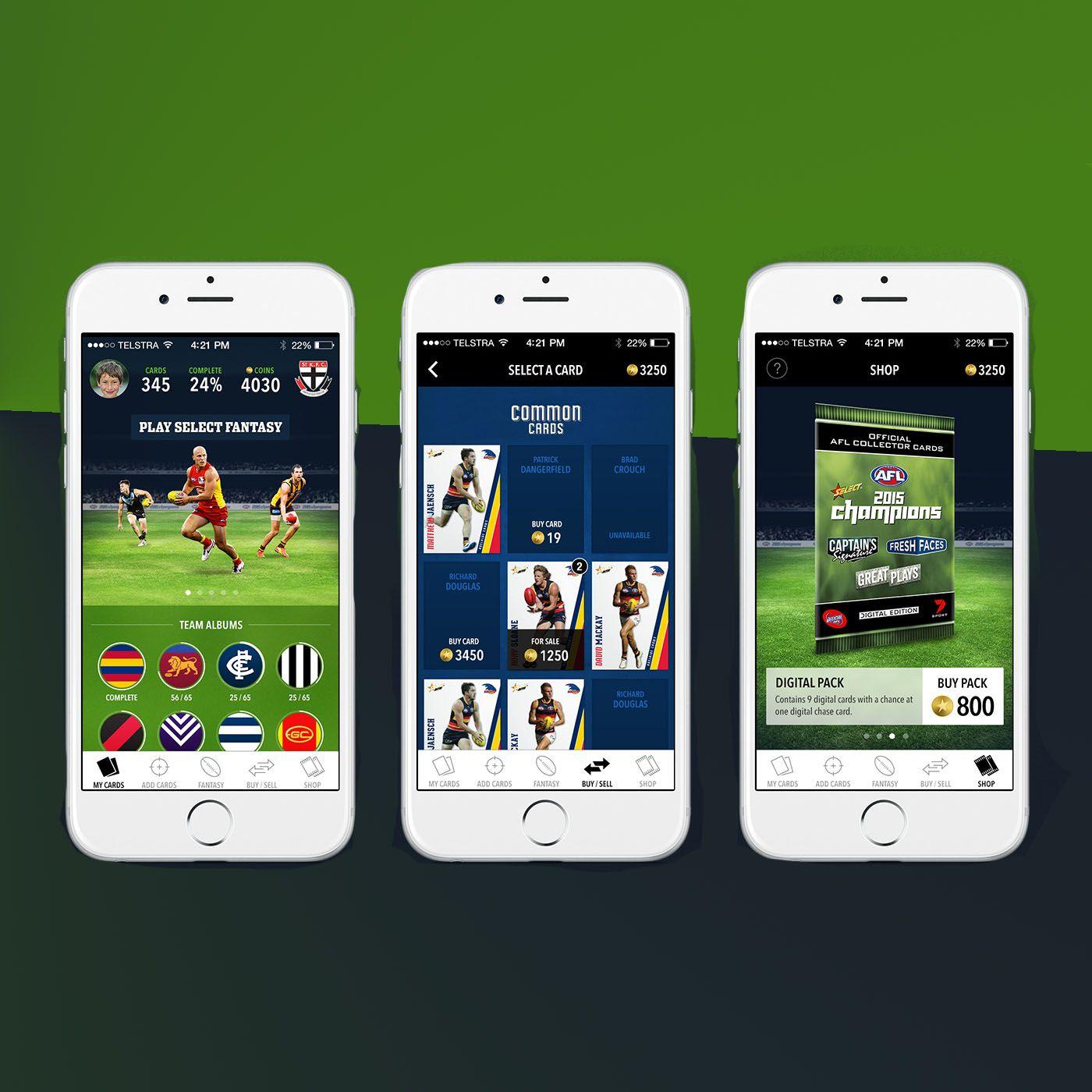 Footy Cards App.sports play digital champions team