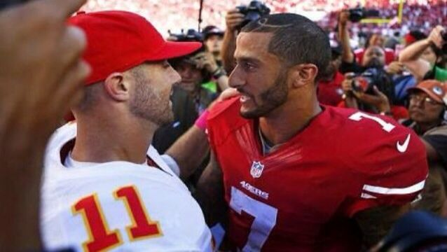 Colin Kaepernick and Alex Smith meet at mid-field after the Niners victory over the Chiefs! ❤️
