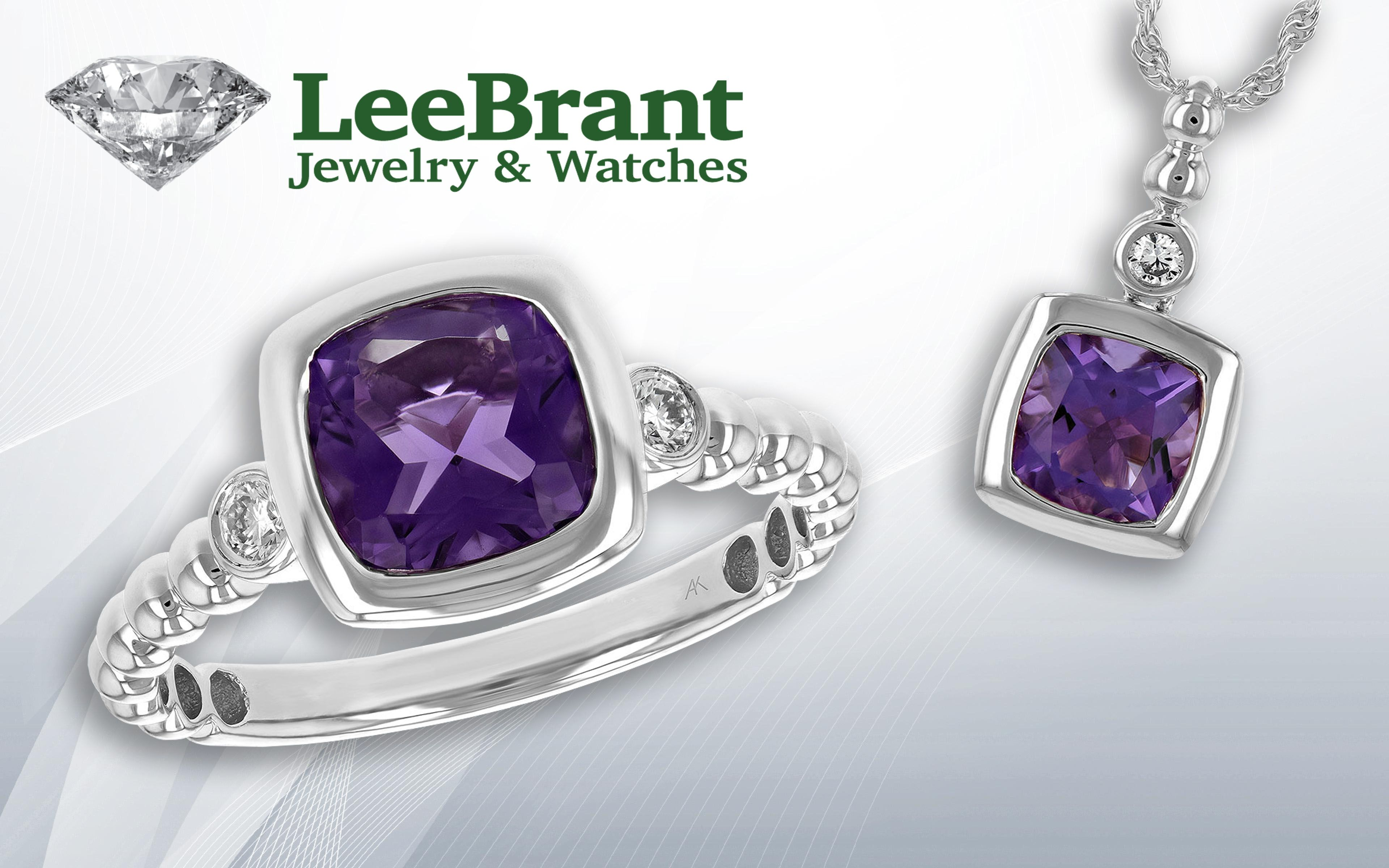 Gorgeous amethyst ring and pendant in kt white gold with bezel set