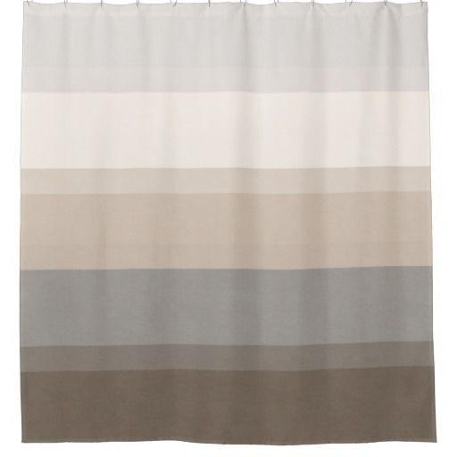 Chic Taupe Cream And Gray Striped Shower Curtain Zazzle Com