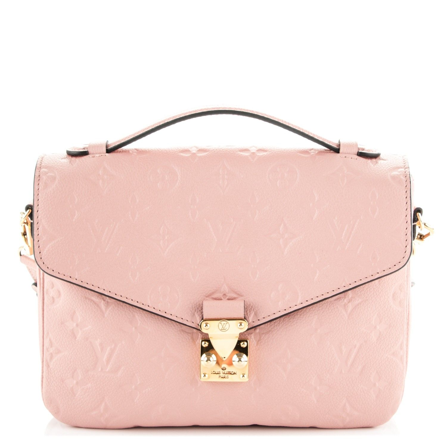 8c5e2be5be39 This is an authentic LOUIS VUITTON Empreinte Pochette Metis in Rose Poudre.  This incredibly popular shoulder bag is finely crafted of classic Monogram  ...