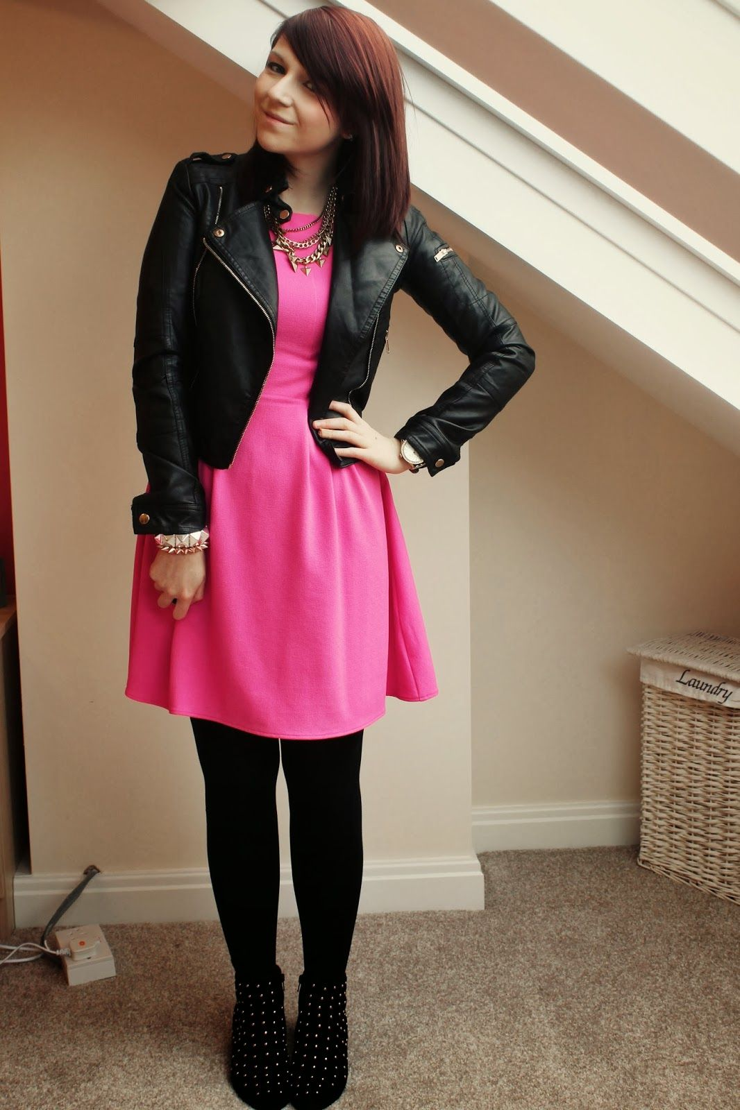 pink dress, leather jacket, studded boots | girl next door fashion ...