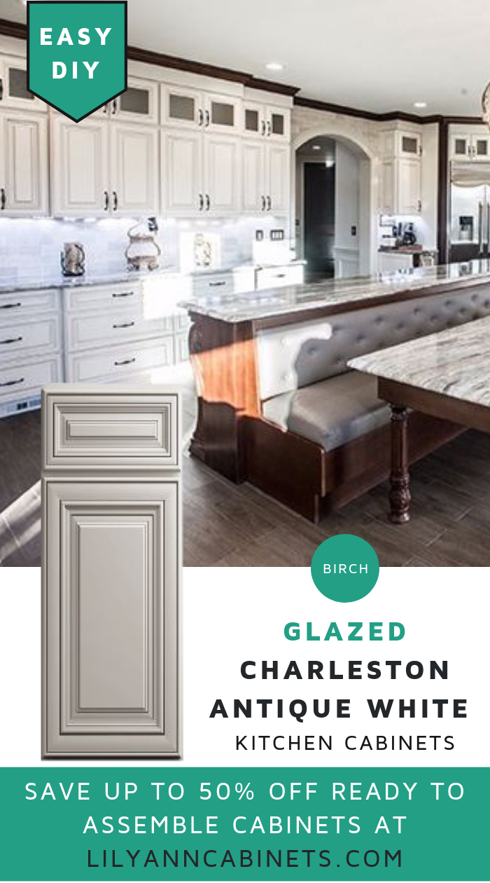 Give Your Kitchen A French Country New Look With Ready To Assemble Charleston Off White Glaz Antique White Kitchen White Glazed Cabinets French Country Kitchen