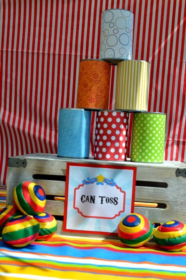 Boys circus themed birthday party can toss game ideas dj for Amusement park decoration games