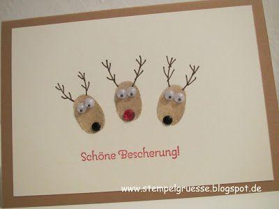 stampin up rednose rendeer fingerprints hirsch. Black Bedroom Furniture Sets. Home Design Ideas