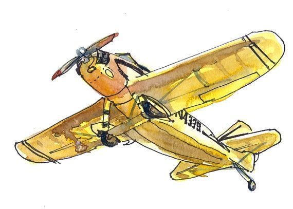 Airplane Watercolor Sketch Airplane Painting Airplane Art