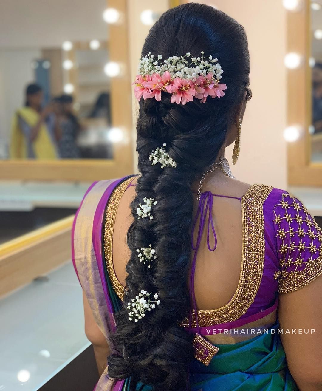 Image may contain: one or more people  Bridal hair buns, Indian