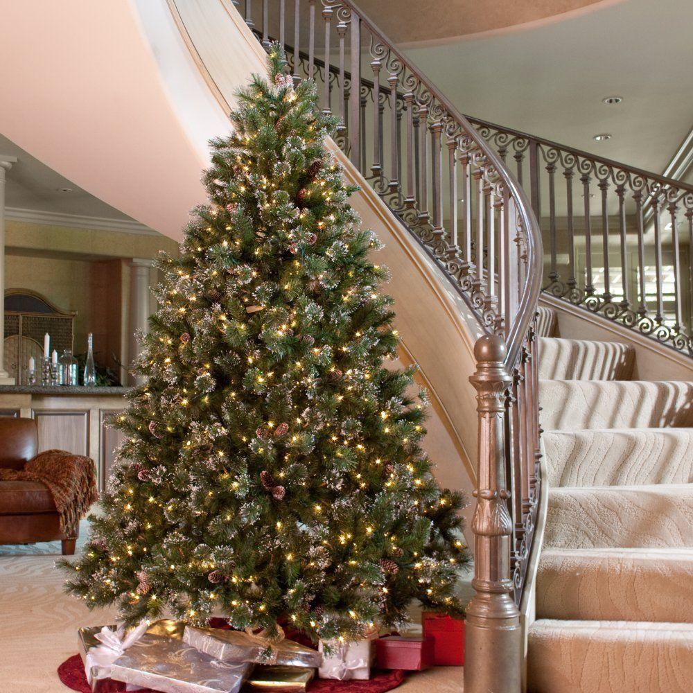 10 ft glittery pine full pre lit christmas tree