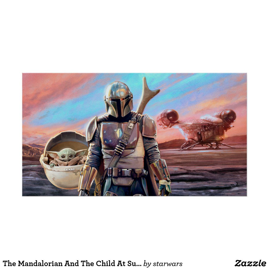 The Mandalorian And The Child At Sunset Poster Zazzle Com Yoda Canvas Mandalorian Poster