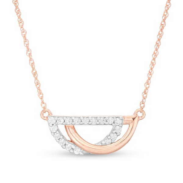 1 8 Ct T W Diamond Interlocking Half Circles Necklace In 10k Rose Gold Half Circle Necklace Circle Necklace Rose Gold