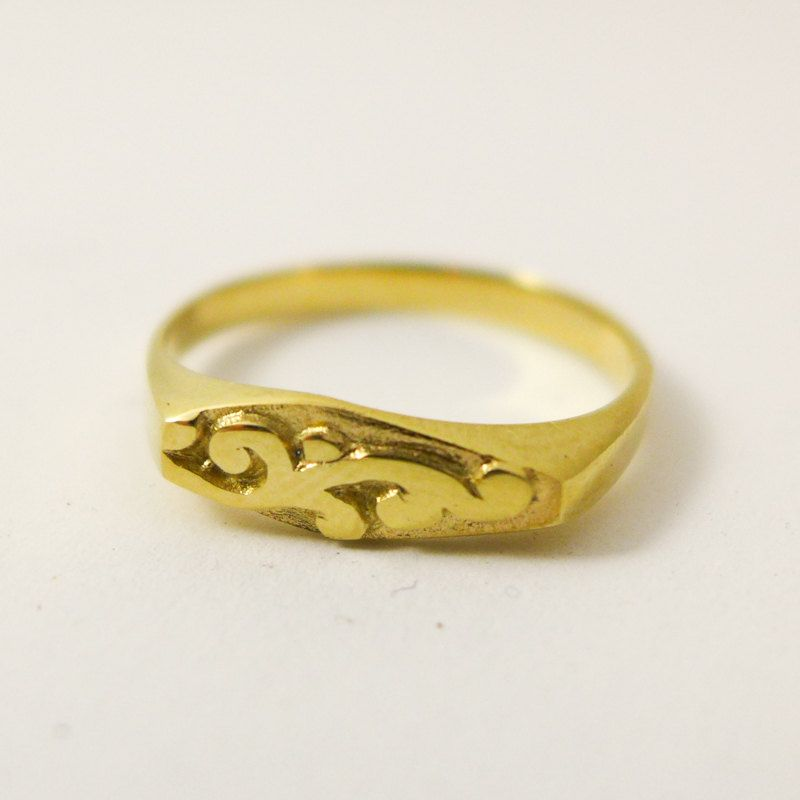 gold signet ring 14 karat solid gold ring for woman unique wedding ring