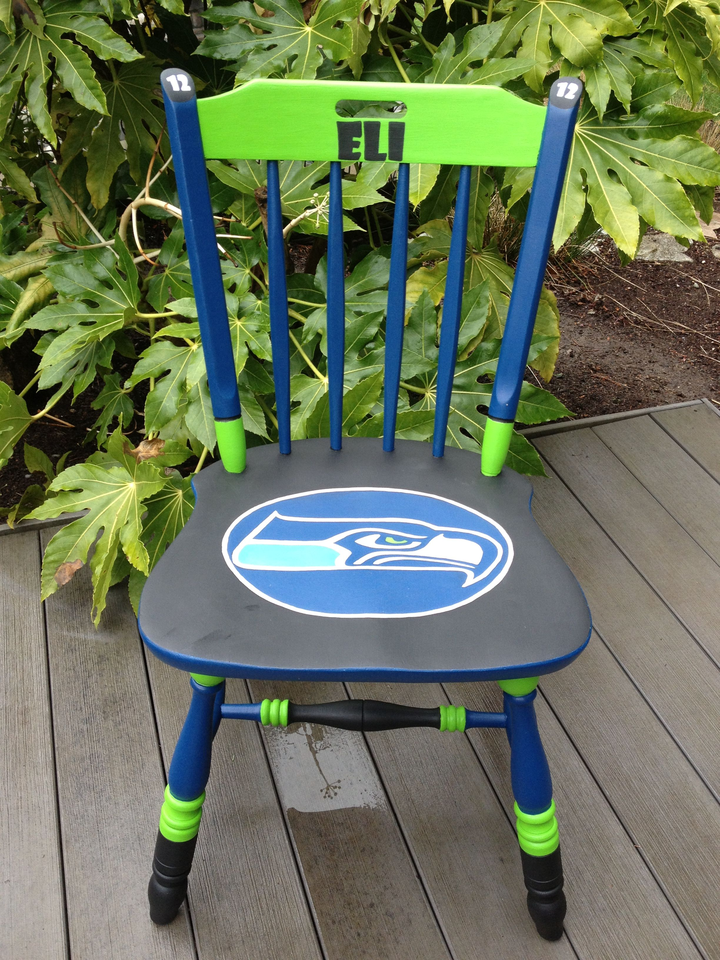 Seahawks custom hand painted chair from painted chairs etc