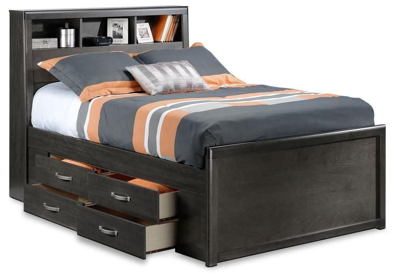 Dessy Junior Full Storage Bed Charcoal Full Bed With Storage Single Beds With Storage Bed Storage