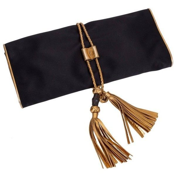 8b762aacf63 Preowned Gucci Black Silk Gold Tassel Clutch Bag ( 989) ❤ liked on Polyvore  featuring bags