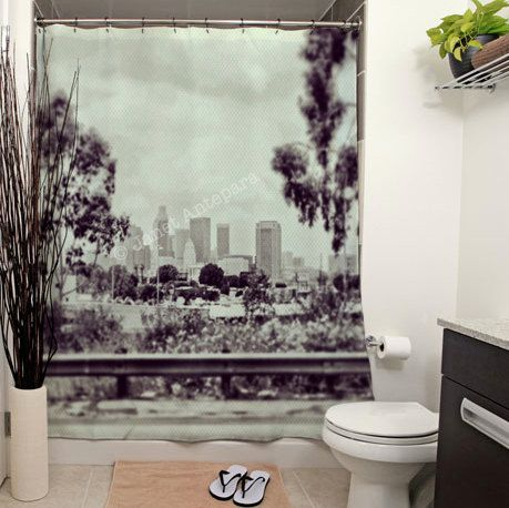 DTLA Printed Shower Curtain, Bathroom Decor, Home, Vintage, Downtown Los  Angeles,