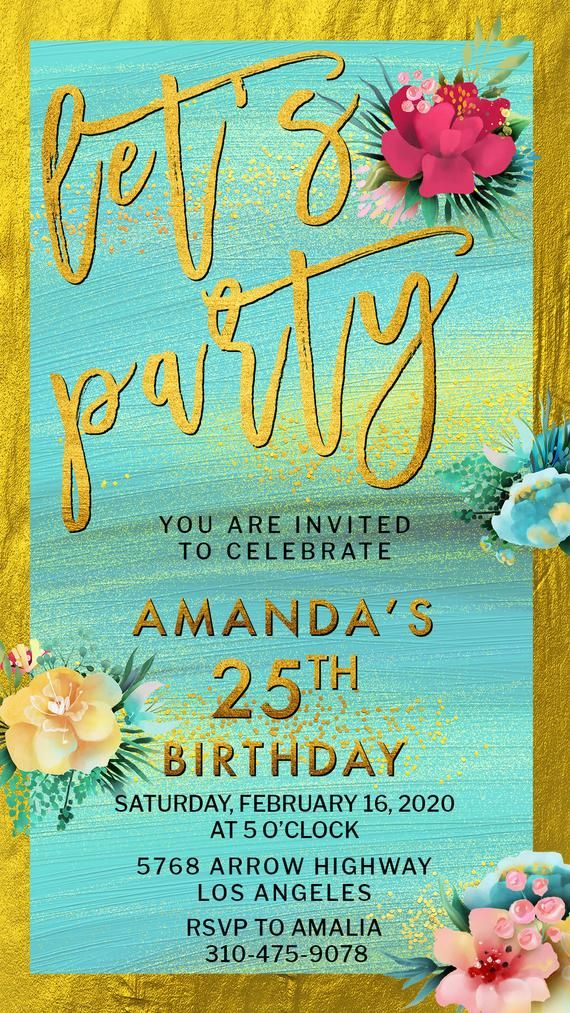 Lets Party Digital Email Invitation Gold Bright Flowers Adult Birthday Electronic Invite