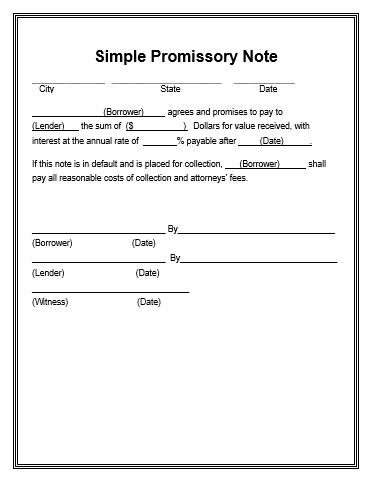 PromissoryNoteTemplate  Wordstemplates    Promissory